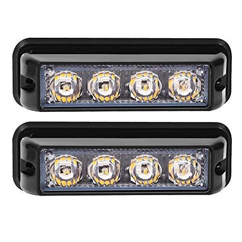 Linchview Frontblitzer 4W LED 12V/24V Auto Warnleuchten Blitzlicht Stand Licht Cargo Truck Strobe Leuchten mit 16 Blitzmuster (4 LEDs 4W) ()