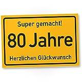 DankeDir! 80 Jahre Stadtschild/Kunststoff Schild - Geschenk 80. Geburtstag, Geschenkidee Geburtstagsgeschenk Achtzigsten, Geburtstagsdeko/Partydeko / Party Zubehör/Geburtstagskarte