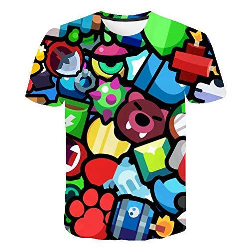 Effekt-jugend-t-shirt (SPONSOKT T-Shirt Mode Spiel Brawl Stars Series 3D-Druck Im Freien BeiläUfiges KurzäRmliges Oberteil Jugend/C/M)