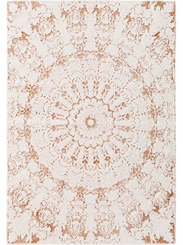 Benuta Waschbarer Kurzflor Teppich Luis Beige/Kupfer 120x170 cm - Moderner Teppich für Wohnzimmer -