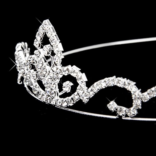Nupcial Tiara Diadema Corona de Moda Adornada con Preciosos Rhinestones Brillantes de Color Plateado