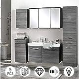 Komplett Badezimmermöbel Set in Eiche Rauchsilber graphitgrau mit 100cm Waschtisch und LED Spiegelschrank