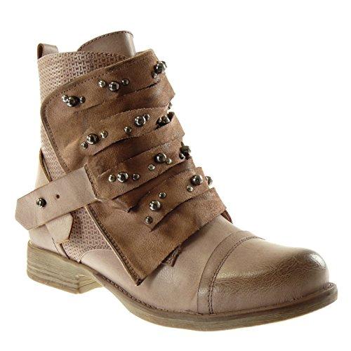 Angkorly - Damen Schuhe Stiefeletten - Biker - Reitstiefel Kavalier - Classic - Nieten - besetzt - Geflochten - Linien Blockabsatz 2.5 cm - Pink 2 F1611 T 37