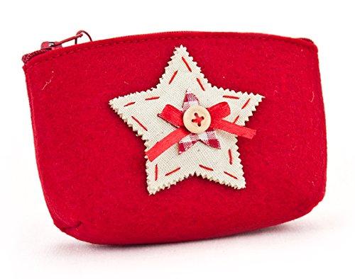 Handtaschen Schätze Kleine (Filztasche Stern mit Knopf aus Filz rot weiß, 13 x 3,5 x 8 cm, Filzetui Kosmetiktasche Utensilientasche Geldbörse mit Reißverschluss für Weihnachten)