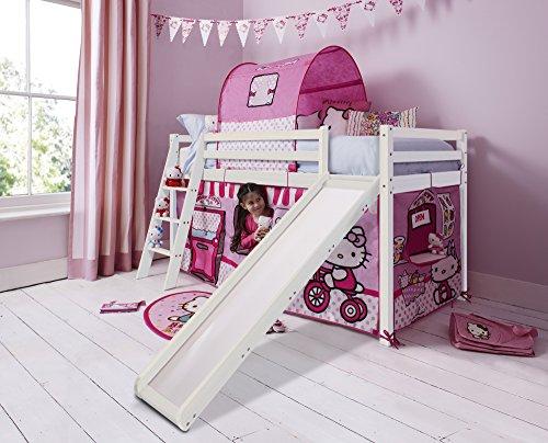 Hochbett Mit Zelt (Noa and Nani Hello Kitty Kinder-Hochbett mit Zelt und Rutsche in Weiß gekalktem Kiefer 70wwhk)