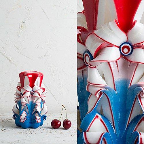 Handgemachte, geschnitzte Kerze als Muttertags-Geschenk, für ihn und für sie - handgemachte (Outfit Elmo)