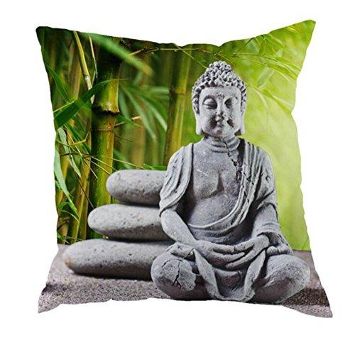 casyva 45x 45cm 40x 40cm Kissen Fall mit Europa Stil bedruckt Buddha dekorativer Überwurf-Kissenbezug mit Bambus MuSTER, Flax, Stil Nr. 4, 45 x 45 cm