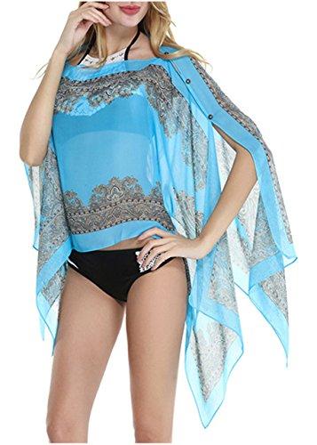 CHIC DIARY Damen Sarong Pareo Strandtuch Böhmen gedruckter Cove Up Schal Halstuch Mini Oberteile aus Chiffon veränderlich und leicht Blau