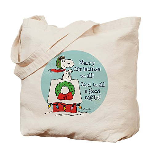 CafePress Snoopy: Merry Christmas to all Tragetasche, canvas, khaki, S