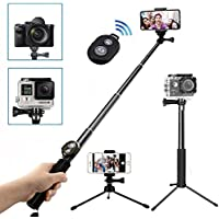 Wineecy Palo Selfie Stick Con Trípode Y Bluetooth Remote Control(para Smarphone) Para Gopro Hero 6/5/4//3/2/1/Session,xiaomi yi 4k, iPhone X/8/8Plus/7/7P/6/6P, Samsung y Otros Smartphone