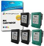 Printing Pleasure 5 XL Tintenpatronen kompatibel zu HP 350XL 351XL für Photosmart C4280 C4380 C4480 C4485 C4580 C5280 D5360 Deskjet D4260 D4360 Officejet J6410 J6415 - Schwarz/Color, hohe Kapazität
