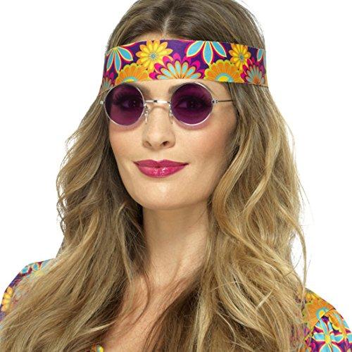 NET TOYS John Lennon Hippiebrille Hippie Sonnenbrille lila Runde Flower Power Brille 70er Jahre Retrobrille