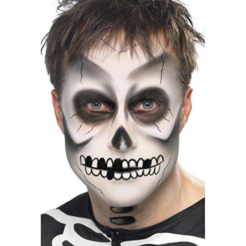 lloween Schminke Skelett Halloweenschminke Totenschädel Skelettschminke Skull Schädel Make Up Zombie Knochen Kostüm Zubehör (Skelett Halloween-make-up)