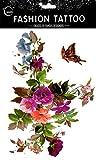 Grashine lange und sehen aus wie echte temporäre Tattoos Große Design bunte Blumen mit Schmetterling temporäre Tattoo-Aufkleber Frauen für Brust, Bauch, Rücken, Bein, etc.