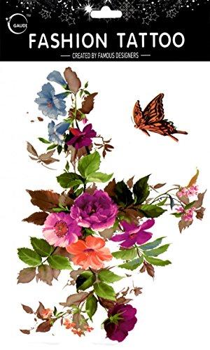 Grashine finalmente e look like real tatuaggi temporanei grande design fiori colorati con farfalla temp tattoo adesivi donne per petto, pancia, schiena, gambe, ecc.