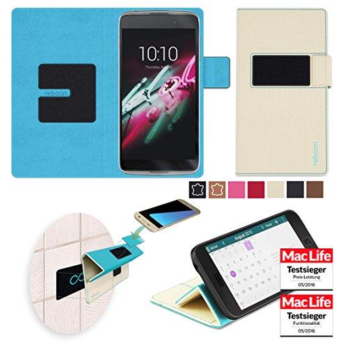 reboon Hülle für Alcatel OneTouch Idol 3C Tasche Cover Case Bumper | Beige | Testsieger