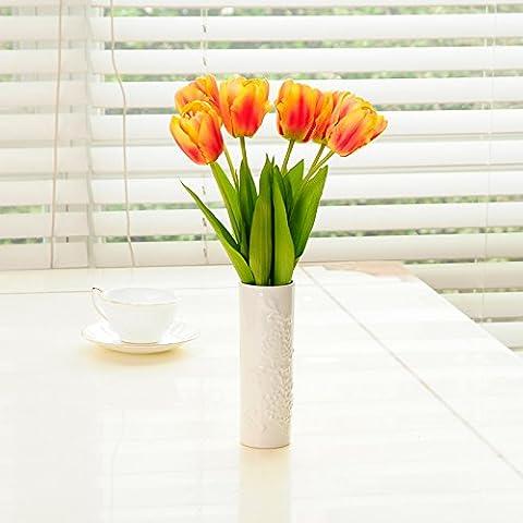 ShiQi Fiori artificiali goffrato Peonia vaso impostare Peonia vaso 6 Tulipani di testa per la (Goffrato Roses Bouquet)