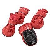 Water & Wood 2Paar Rot Haken Klettverschluss Mesh Design Pet Hund Pudel Schuhe XXS