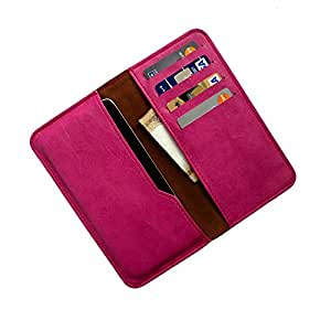 i-KitPit : PU Leather Wallet Flip Pouch Case For Micromax Canvas Lite A92 (PINK)