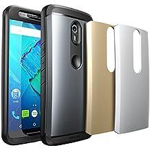 Moto X Pure Edition funda, SUPCASE Funda Cuerpo Completo resistente al agua resistente con protector de pantalla para Motorola Moto X Style/Pure Edition 2015Release, 3carcasas intercambiables (Spacy gris/plata/oro)