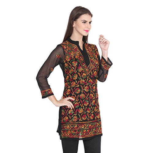 nAzAqAt Lakhnawi Chikankari Georgette Kurta Kurti with fine multicolor Hand Embroidery all...