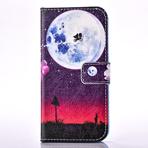 iPhone 5C Hülle,SainCat Apple iPhone 5C Ledertasche Brieftasche im BookStyle PU Leder Wallet Case Lederhülle Folio Reliefprägung Schmetterling Schutzhülle Bling Glitzer Strass Diamant Hülle Bumper Han Red Moon