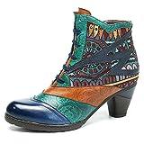 Socofy Bottes Femme, Bottines en Cuir A Talon Haut Boots Chaussures de Ville Mustang Hiver Printemps, Design Original à style ethnique - Marron Rouge Bleu - Spitze Bleu - Taille 39 EU