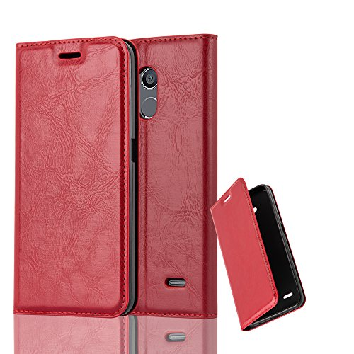 Cadorabo Hülle für ZTE Blade V7 LITE - Hülle in Apfel ROT – Handyhülle mit Magnetverschluss, Standfunktion und Kartenfach - Case Cover Schutzhülle Etui Tasche Book Klapp Style