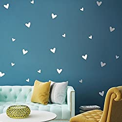 Canifon Pegatinas De Pared para Habitaciones para Niñas DIY Creative Multi-Size Love Pegatinas De Pared Removibles Frases Flores Cocina Decorativas Plata