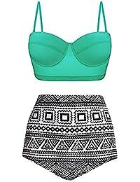 XuBa 2pcs/set Women Fashion Printing High Waist Bikini Suit Beachwear high waisted bikini swimsuit