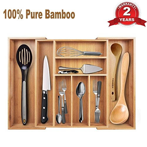 Cutlery Tray & Drawer Organizer—Large Expandable Utensil Organizer 7 Compartments, 2 with Adjustable Dimensions, Beautiful and Durable Bamboo