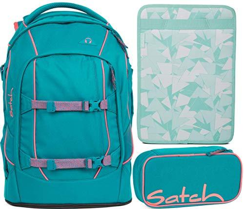 Satch Pack Ready Steady 3er Set Schulrucksack, Schlamperbox & Heftebox Mint