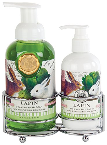 Michel Design Works Foaming Hand Soap and Lotion Caddy Gift Set, Lapin