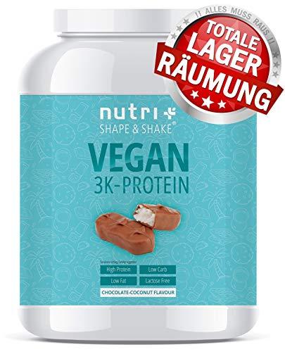 PROTEINPULVER VEGAN Chocolate Coconut 1kg - 3k Eiweißshake - Veganes Eiweißpulver ohne Laktose - Schokolade Kokosnuss Protein Powder - Proteinkomplex - In Deutschland hergestellt