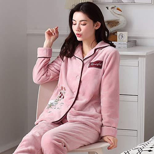 Yshuiyi Pyjamas Pyjamas Weibliche Winter Damen Hause Service Flanell Strickjacke Große Dicke Dicke Warme Korallen Fleece Pyjamas Frauen Dick