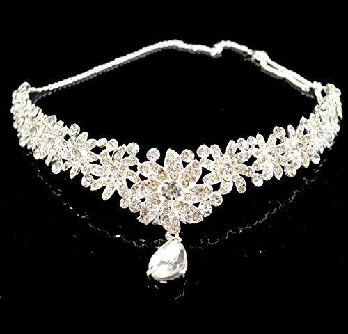 Type62 Lady Diamond Flower Wedding Bridal Head Wear Hair Band Headdress Chain Jewelry+earrings