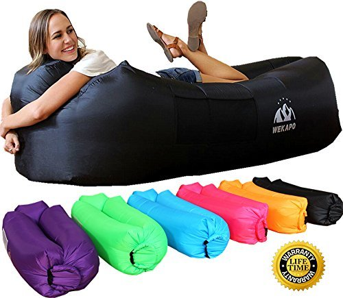 Wekapo Sofa Hinchable con almohada integrada y bolsa, tumbona hinchable, sofa inflable, portátil impermeable ligero poliéster aire sofá inflable ocioso, aire cama Tumbona de playa para viajes, piscina, Camping, parque, playa, patio trasero