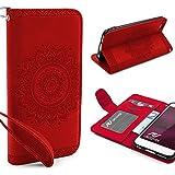 Urcover® Apple iPhone 6 Plus / 6s Plus Handy Schutz-Hülle | Lotus Pattern Wallet Rot | Kartenfach & Standfunktion | Flip Case | Trendy Tasche | Cover Schale | Smartphone Zubehör