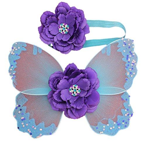 Ensemble Bébé Ailes de Papillon + Bandeau Elastique Fleur pour Cosplay Fée Props Photo - Bleu