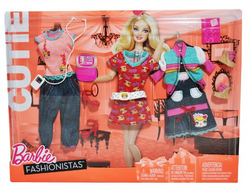 Barbie Year 2010 Fashionistas Series CUTIE Outfit Doll Cloth Assortment R6815 - CASUAL Outfits with Pink Sleeveless Top, Blue Denim Capris, Red Dress, Blue/White/Pink Long Sleeve Jacket, Blue Denim Apron Dress, White Belt,