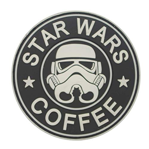 Cobra Tactical Solutions Military PVC Patch Star Wars Coffee Stormtrooper Leuchtet im Dunkeln mit Klettverschluss für Airsoft/Paintball für Taktische Kleidung/Rucksack