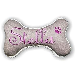 Hunde Spielzeug Kissen Knochen Hundeknochen Quitscher braun meliert mit Name Wunschname Größe XXS XS S M L XL oder XXL
