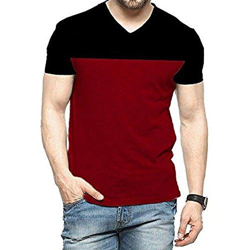 Yes'No Men's Cotton T-Shirt (Multicolour, KE-V-Neck-Half-Blk-Mrn-XXL)