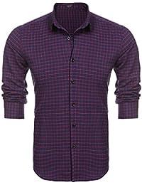Coofandy Camisa Casual Manga Larga a Cuadros con Botones y Cuello Clásico Hombre