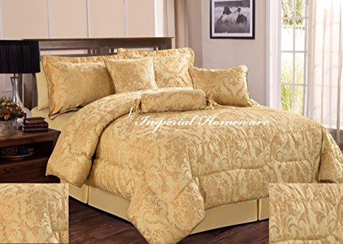Parure de lit, couette, couvre-lit matelassé de luxe, 7 pièces, en tissu jacquard, Aluminium, Amazon Gold, King