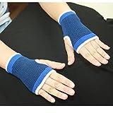 Beautyrain 2 pcs Support de poignet Gants élastiques Gym Sécurité Nylon Polyester Coude Palm Brace main Soulagement de la douleur Sport & Santé médicale Bleu