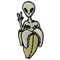 Alien in Banana Patch Embroidered Applique Iron On Sew On Emblem