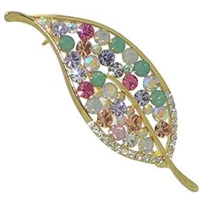 AGATHA broche feuille cristal de couleur or multi