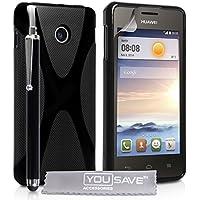 Yousave Accessories Silikon X-Line, mit Eingabestift für Huawei Ascend Y330–schwarz