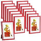 WOLTU #315 Bilderrahmen Bildergalerie Fotogalerie mit Passepartout, Foto Collage Galerie, Kunststoff und Echtglas, New Life Style, Rot, 15x20 cm, 15er Set